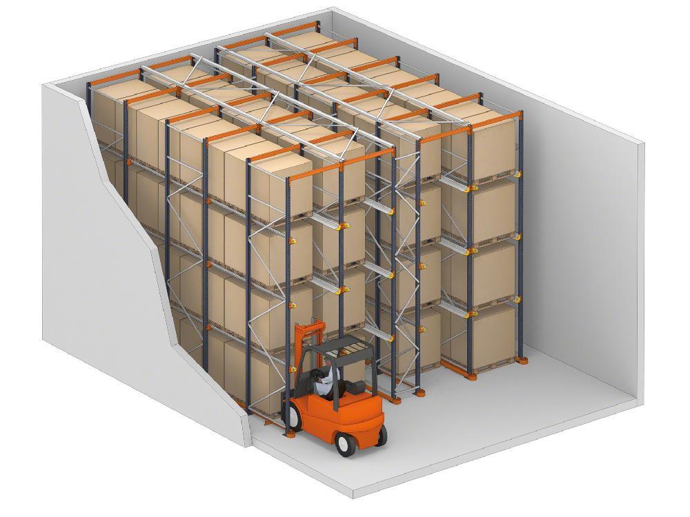 نظام القيادة عبارة عن أرفف حيث يمكن للشاحنات الوصول إلى البضائع عبر قنوات التخزين الخاصة بهم